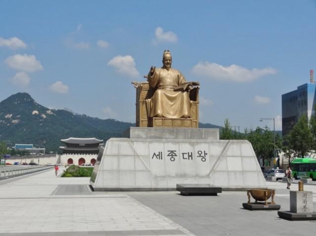 韓国 光化門広場 世宗大王像
