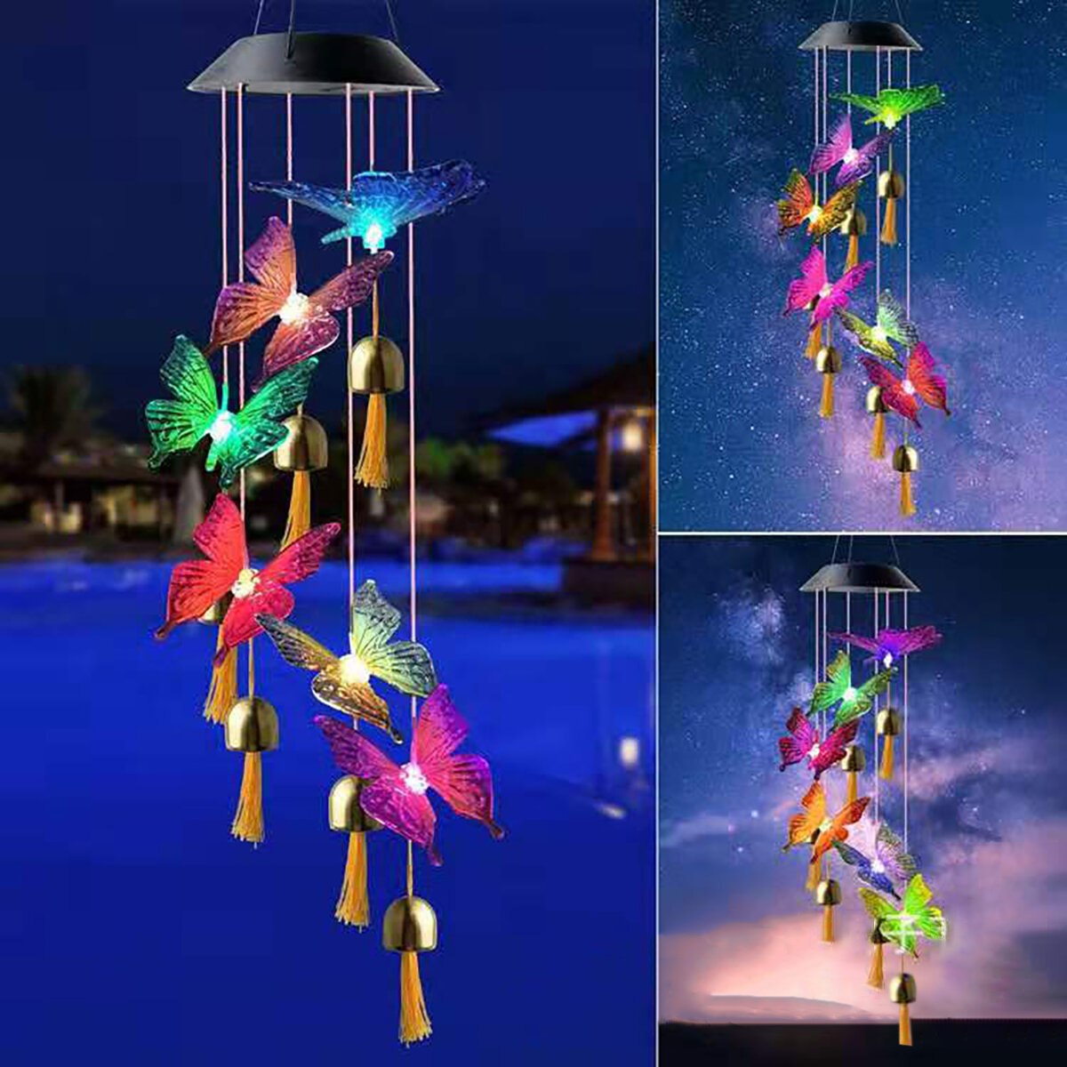Colorful Solar Bell Wind Chime Light Automatic Waterproof Solar Powered Wind Chime Lamp - Dragonfly