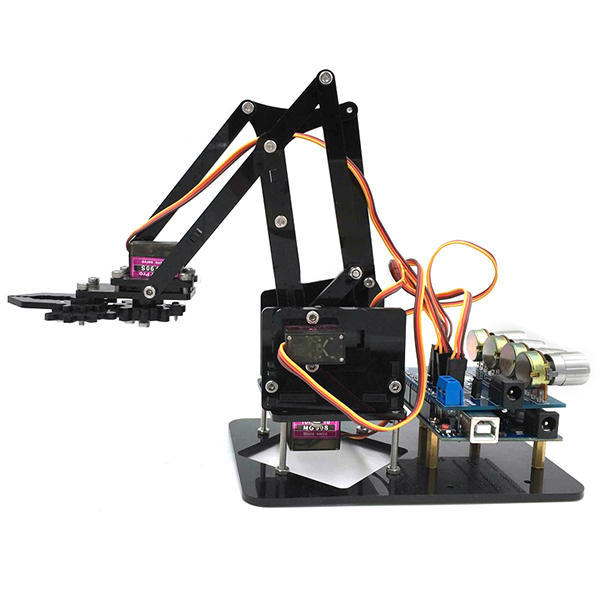 15% OFF for URUAV DIY 4DOF Robot Arm 4 Axis Acrylic Rotating Mechanical Robot Arm With R3 4PCS Servo