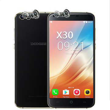 DOOGEE X30 5.5'' Dual Front&Rear Cameras 2GB RAM 16GB ROM MT6580A Octa-Core 1.3GHz 3G Smartphone - Black