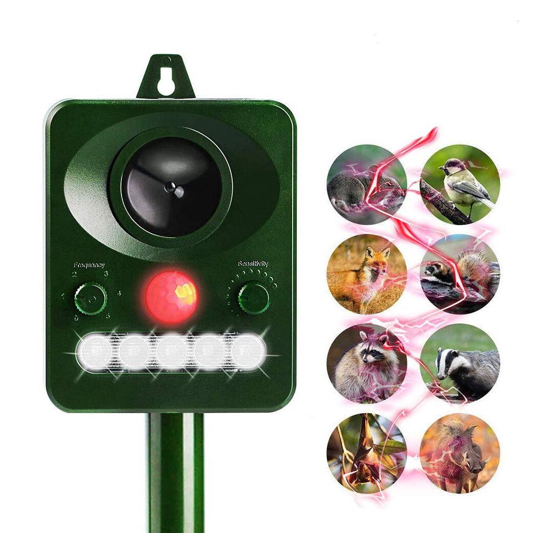 Garden Ultrasonic Animal Repeller PIR Sensor Solar Powered LED Flashlight Dog Cat Mouse Repeller