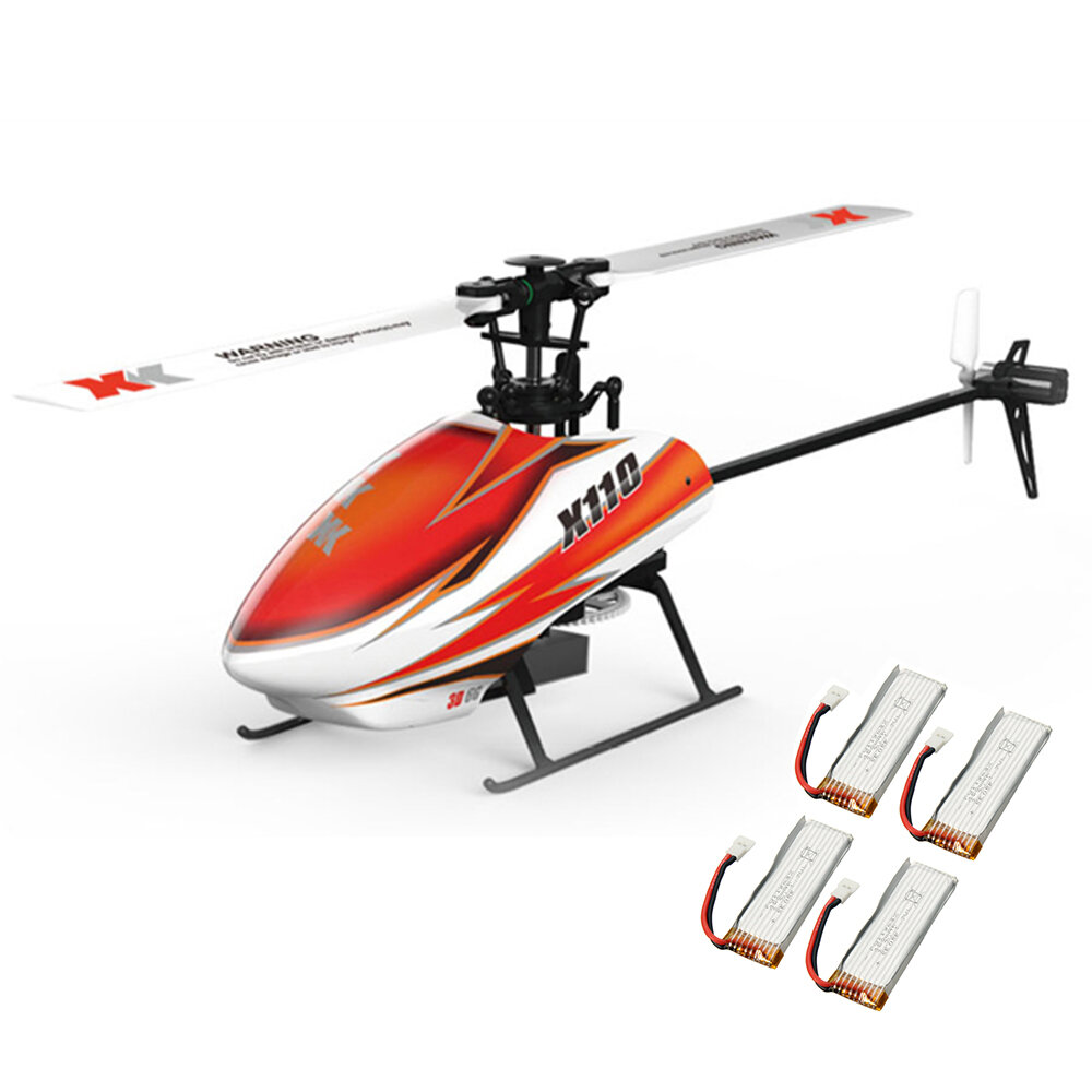 XK K110 6CH Brushless 3D6G System RC Helicopter BNF With 4 Pcs Battery