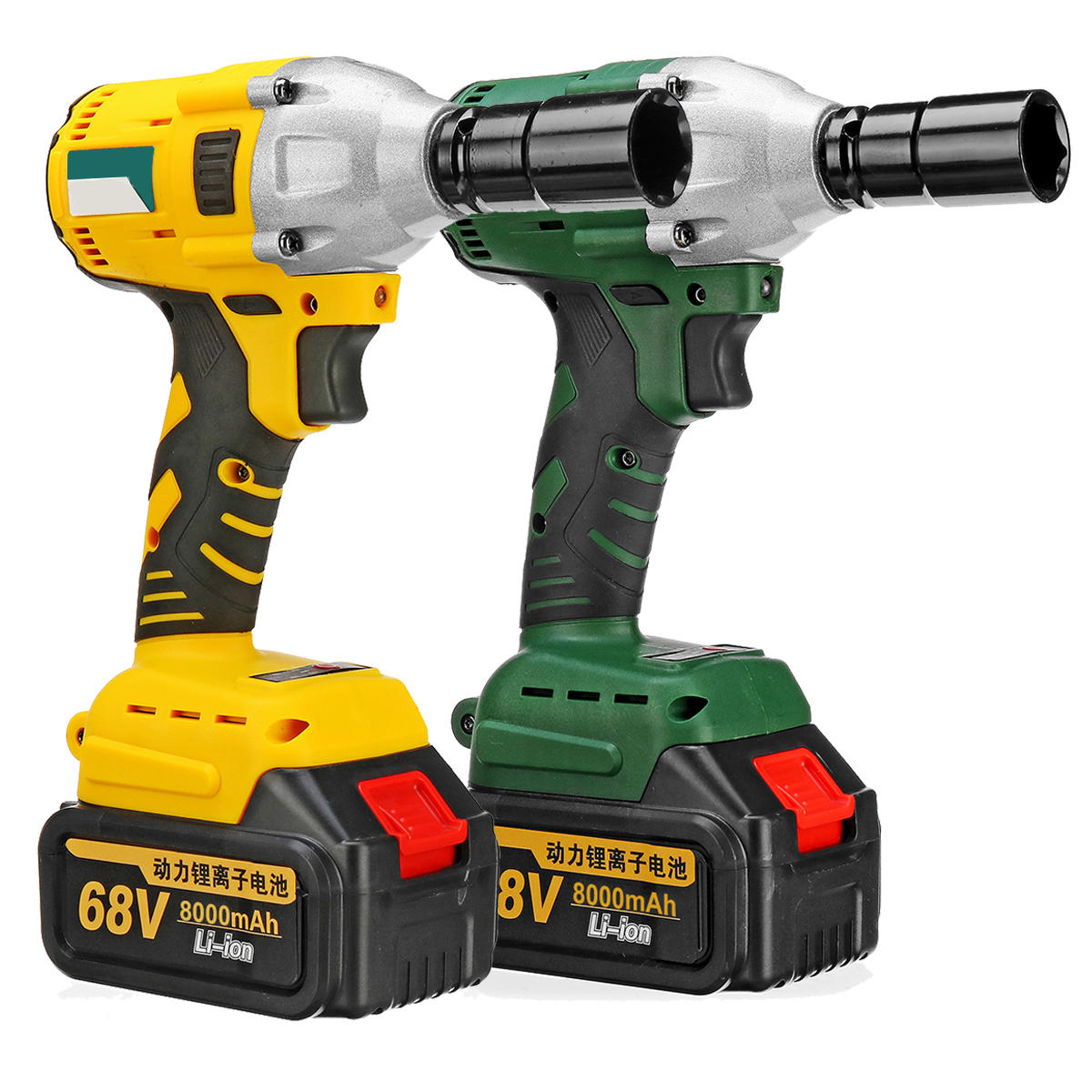 68V 8000mAh 460N.m Electric Cordless Impact Wrench Brushless Driver Tool w/ 2pcs Li-ion Batteries - Yellow