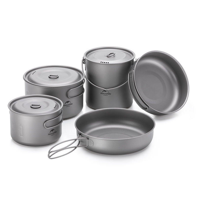 Naturehike NH18T101-A 2-3 People Pot Pan Picnic Tableware With Foldable Handle Hook