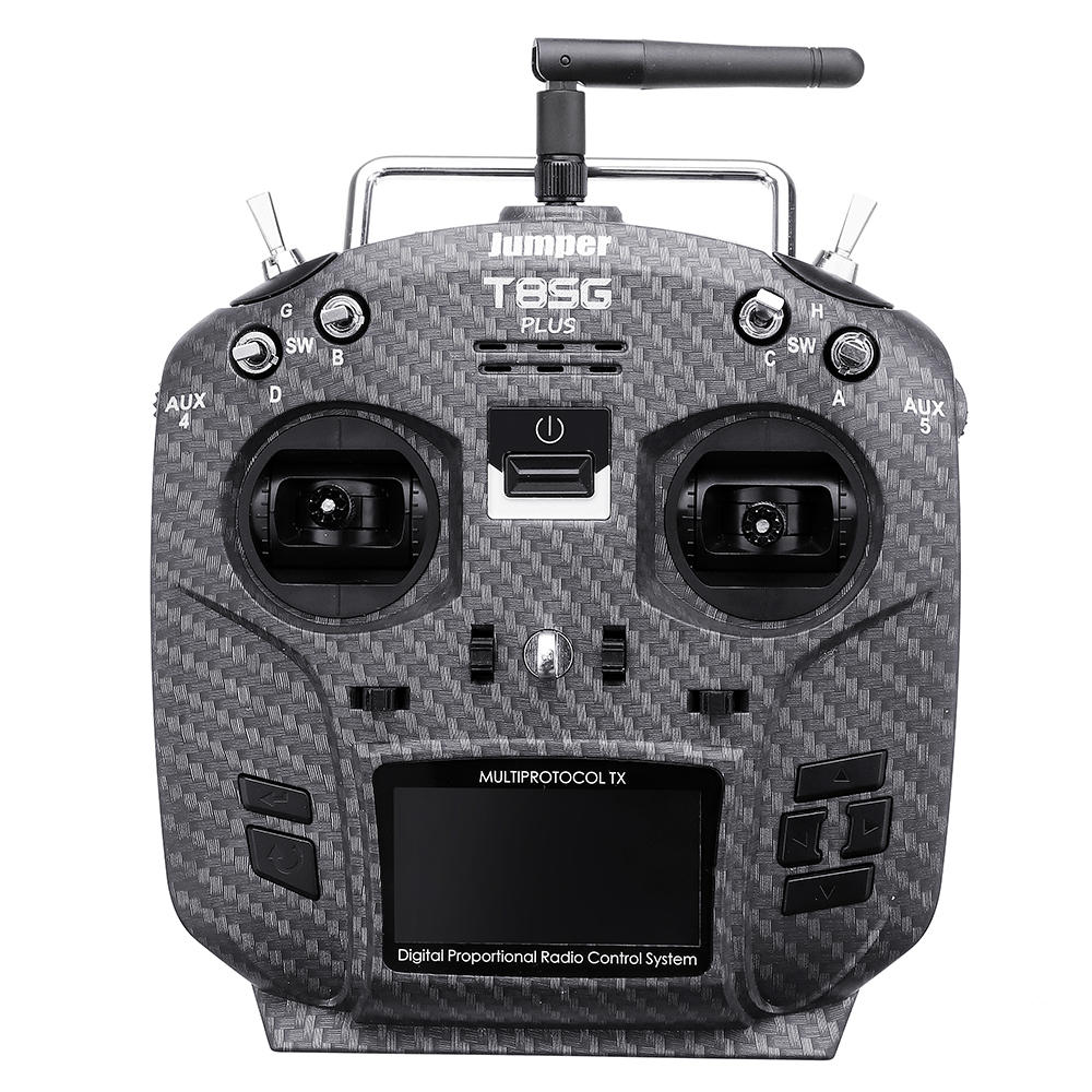 Jumper T8SG V2.0 Plus Carbon Special Edition Hall Gimbal Multi-protocol Advanced Transmitter for Flysky Frsky - Mode 2 (Left Hand Throttle)