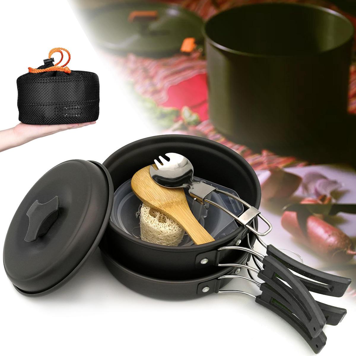 1-2 People Portable Cookware Set Backpacking Gas Butane Propane Canister Cooking Stove Burner Set Pot Pan Bowl Picnic BBQ Tableware - Black