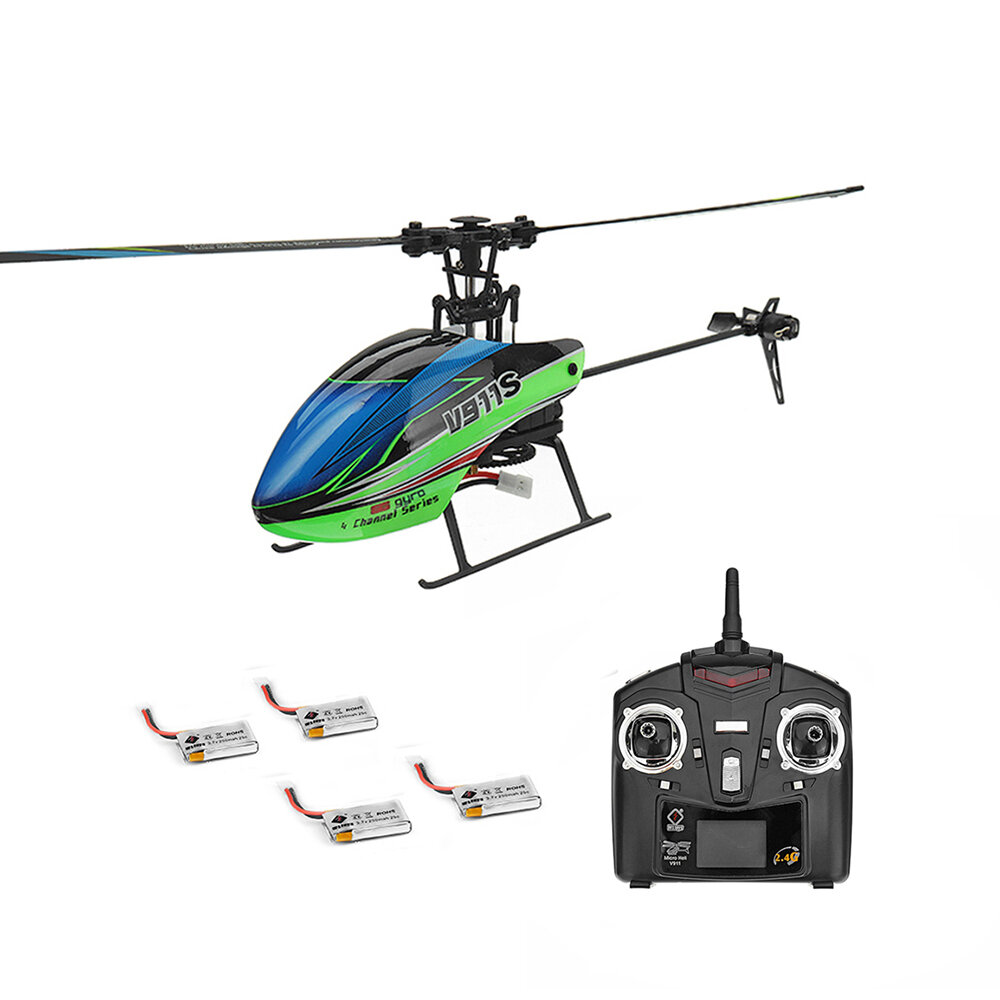 12% OFF for WLtoys V911S 2.4G 4CH 6-Aixs Gyro Flybarless RC Helicopter RTF With 4PCS 3.7V 250MAh Lipo Battery
