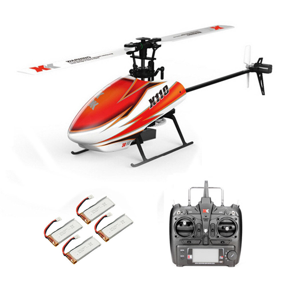 18% OFF for XK K110 2.4G 6CH 3D Flybarless RC Helicopter RTF Compatible With FU-TABA S-FHSS With 4PCS 3.7V 450MAH Lipo Battery