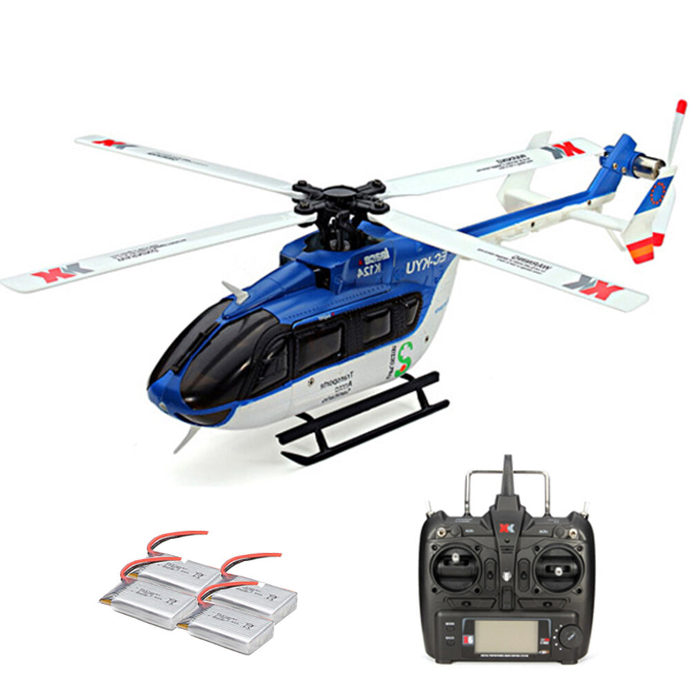 15% OFF FOR XK K124 2.4G 6CH Brushless EC145 3D6G System RC Helicopter 4PCS 3.7V 700mAh Lipo Battery Version Compatible With FUTAB-A S-FHSS