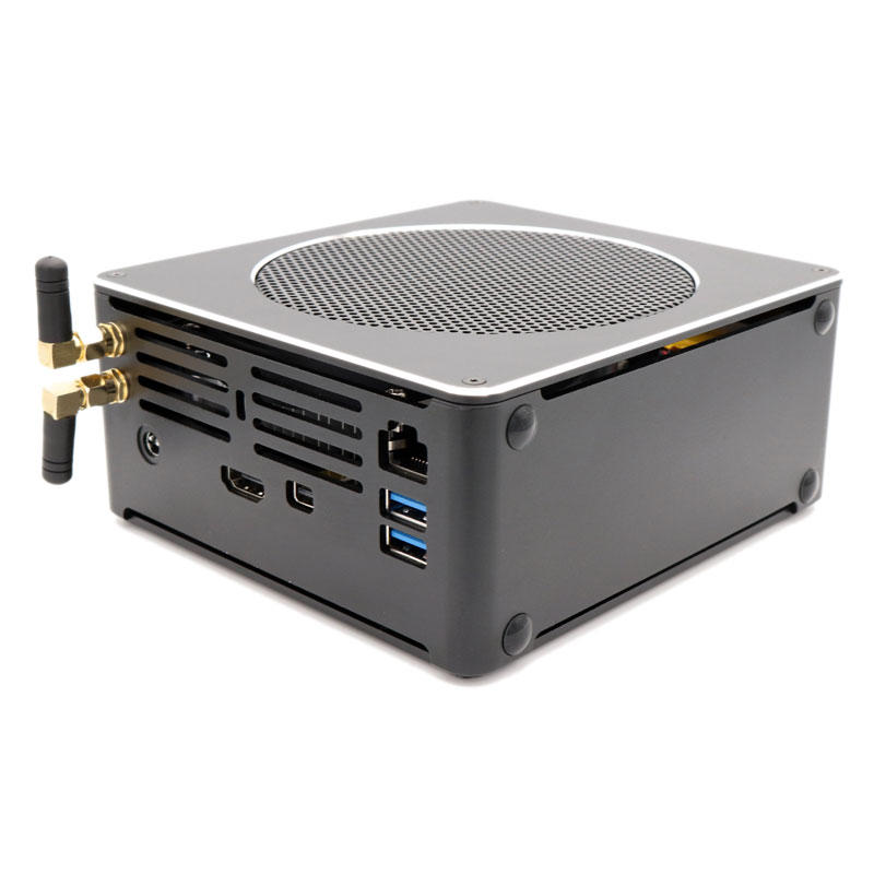 Eglobal S200 Mini PC i7-8750H Barebone Quad Core Win10 DDR4 Intel UHD Graphics 630 4.1GHz Fanless Mini Desktop PC SATA mSATA MIC VGA HDMI 1000M WIFI