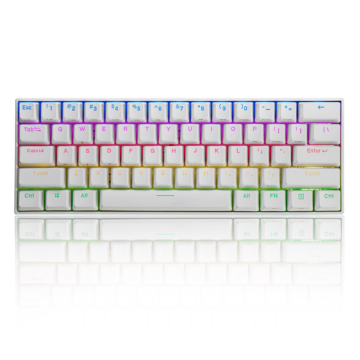FEKER 60% NKRO bluetooth 4.0 Type-C Outemu Switch PBT Double Shot Keycap RGB Mechanical Gaming Keyboard--White