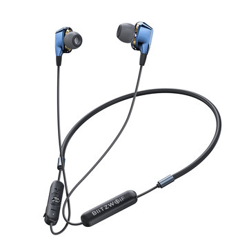 BlitzWolf® BW-BTS4 bluetooth 5.0 Earphone Wireless Neckband Dual Dynamic Driver Magnetic Sports Headphone with Mic - Black