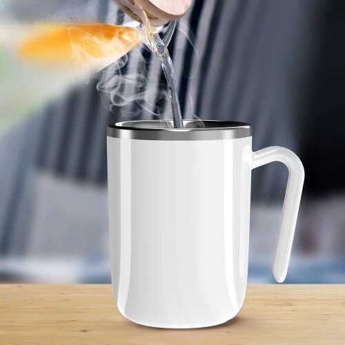 [New Version] Automatic Stirring Magic Mug Hot Water Semiconductor Power Generation Belly Magnetic Coffee Mixing Cup Drinkware Ceramic Cup
