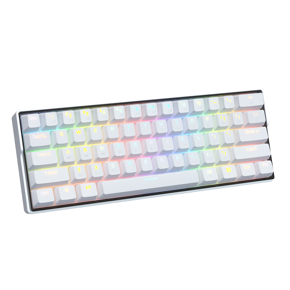KEMOVE SnowFox 61 Keys 60% NKRO bluetooth 5.1 Type-C Dual Mode Mechanical Gaming Keyboard PBT Keycap Gateron Axis Switch Hotswappable Switches RGB Backlight Keyboard with Full Keys Programmable