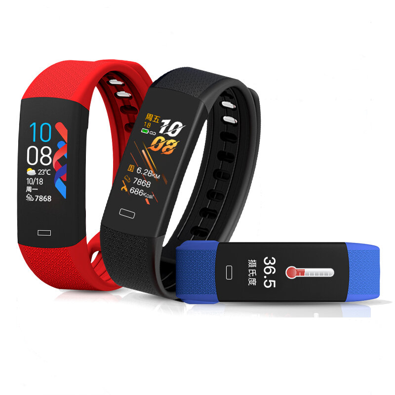 [bluetooth 5.0]Bakeey B6W Body Temperature Blood Pressure Oxygen Heart Rate Monitor Brightness Camera Control Sport Route Tracking Smart Watch