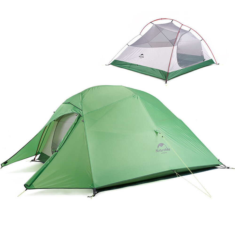 Naturehike Cloud-Up 2 People Lightweight Backpacking Tent 210T RipStop 4 Season Dome Tent Double Layers PU 3000mm Water Resistant with Footprint for Camping Hiking - C