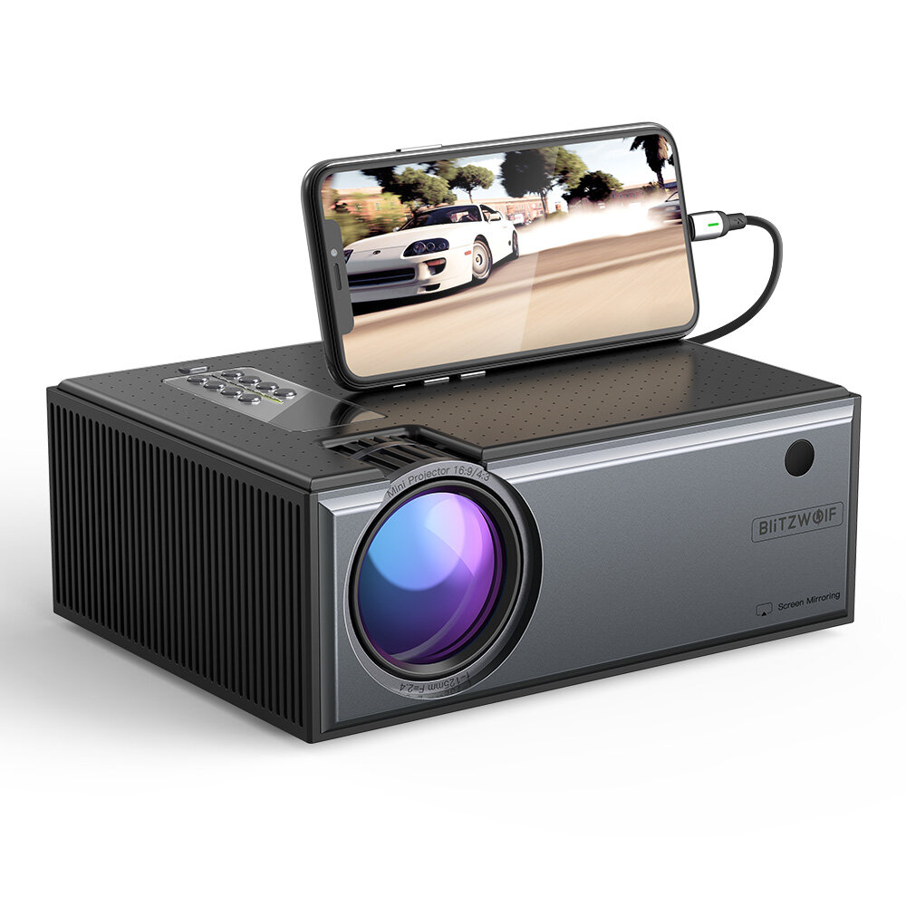 [Newest Version]Blitzwolf® BW-VP1-Pro LCD Projector 2800 Lumens Phone Same Screen Version Support 1080P Input Dolby Audio Wireless Portable Smart Home Theater Projector