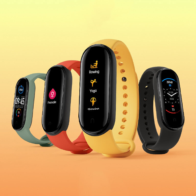[Support English]Original Xiaomi Mi band 5 1.1 Inch AMOLED Wristband Customized Watch Face 11 Sport Modes Tracker BT5.0 Smart Watch - Black