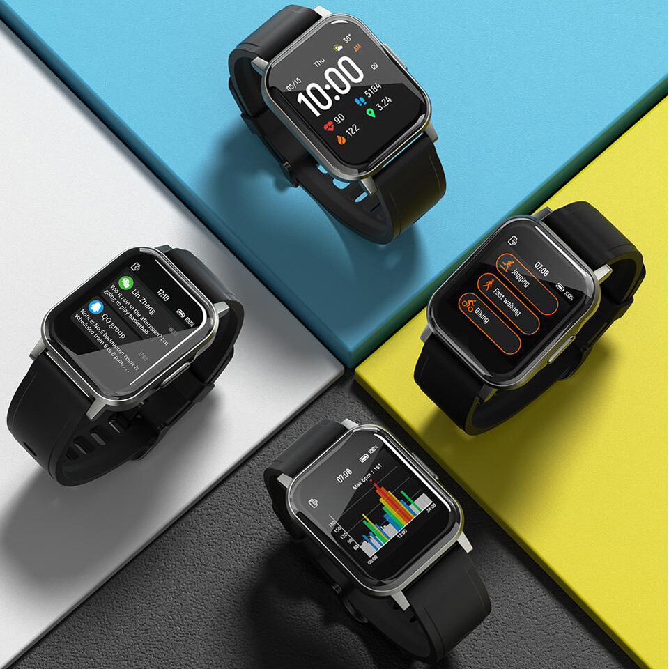 [320*320 pixels] Haylou LS02 1.4inch Ture Color Full Touch Large Screen 320ppi Resolution 12 Sports Modes 30Days Long Standby bluetooth 5.0 Smart Watch Global Version - Black