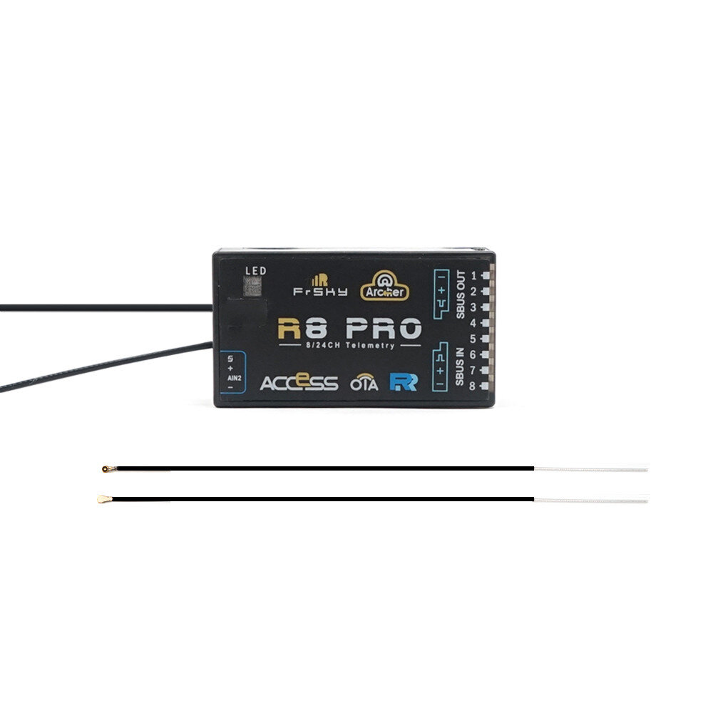 FrSky ARCHER R8 Pro OTA 2.4GHz 8/24CH ACCESS S.Port/F.Port PWM SBUS Output Full Range Telemetry Receiver for RC Drone