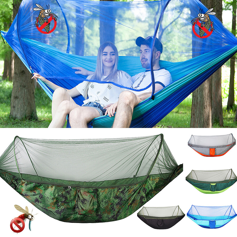 250x120cm Double Person Camping Hammock with Mosquito Net Breathable Folding Sleeping Hanging Swing Bed Outdoor Travel - Orange