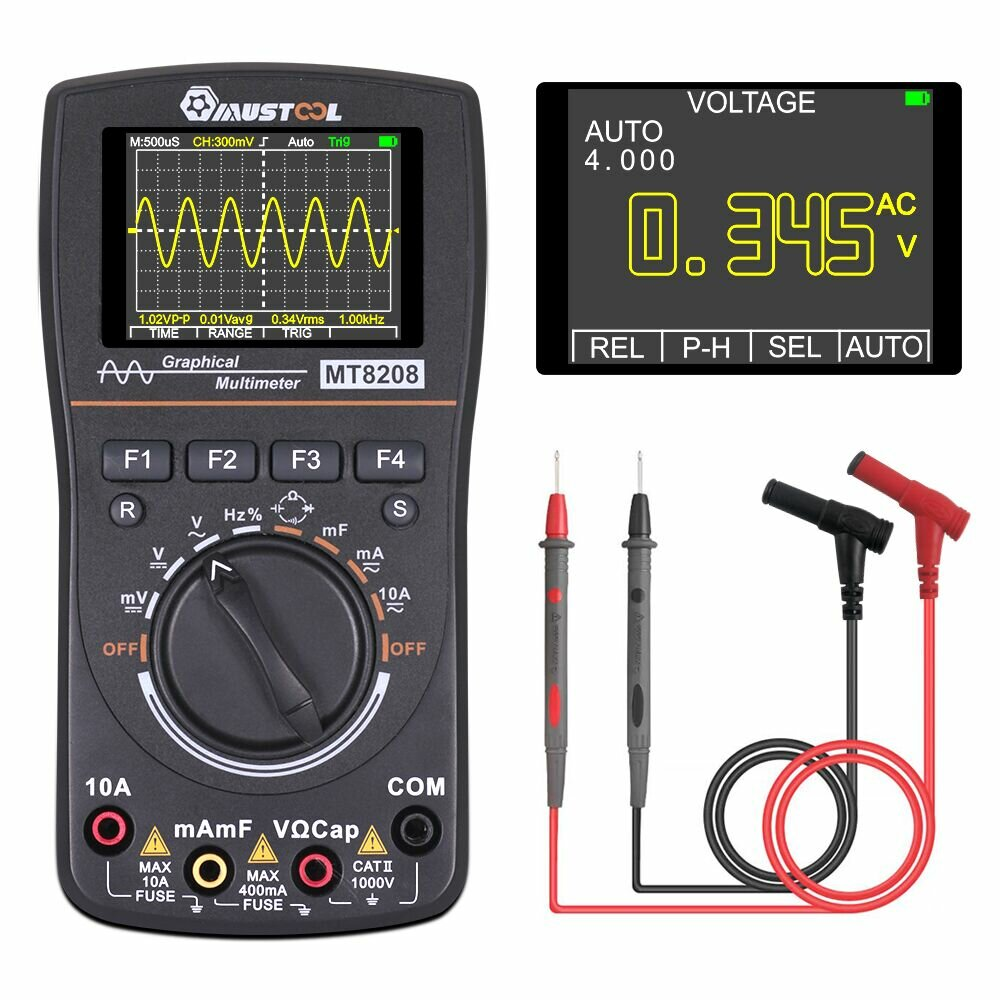 MUSTOOL MT8208 Intelligent Graphical Digital Oscilloscope Multimeter 2 in 1 With 2.4 Inches Color Screen 1MHz Bandwidth 2.5Msps Sampling Rate for DIY and Electronic Test Upgraded from MT8206