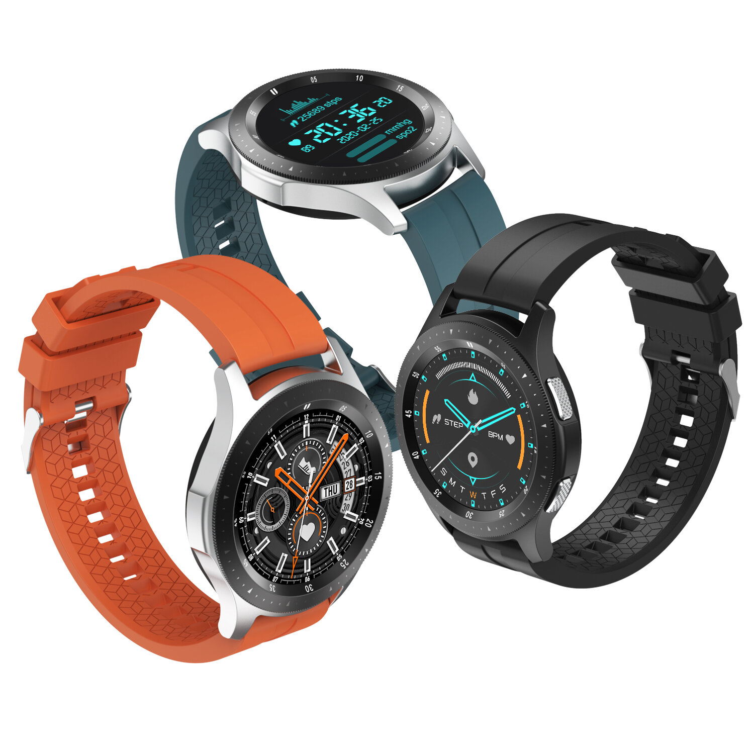 [bluetooth Call]Bakeey W68 Full Touch 320*320px Screen Heart Rate Blood Pressure Oxygen Monitor Double UI Menu Multiple Dials BT4.2+5.0 Dual-Mode Smart Watch
