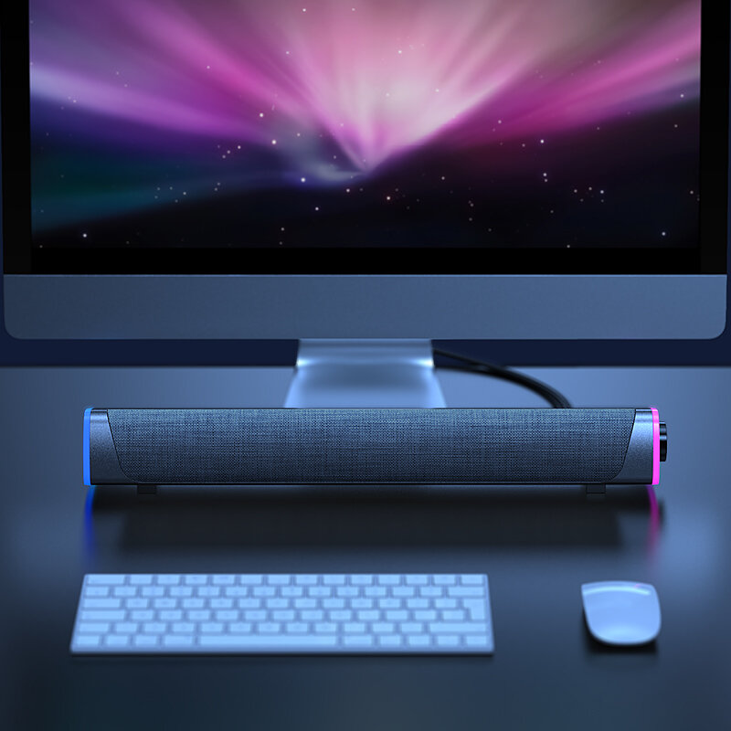 3D Surround Soundbar Bluetooth 5.0 Speaker Wired Computer Speakers Stereo Subwoofer Sound Bar for Laptop PC Theater TV Aux 3.5mm - White