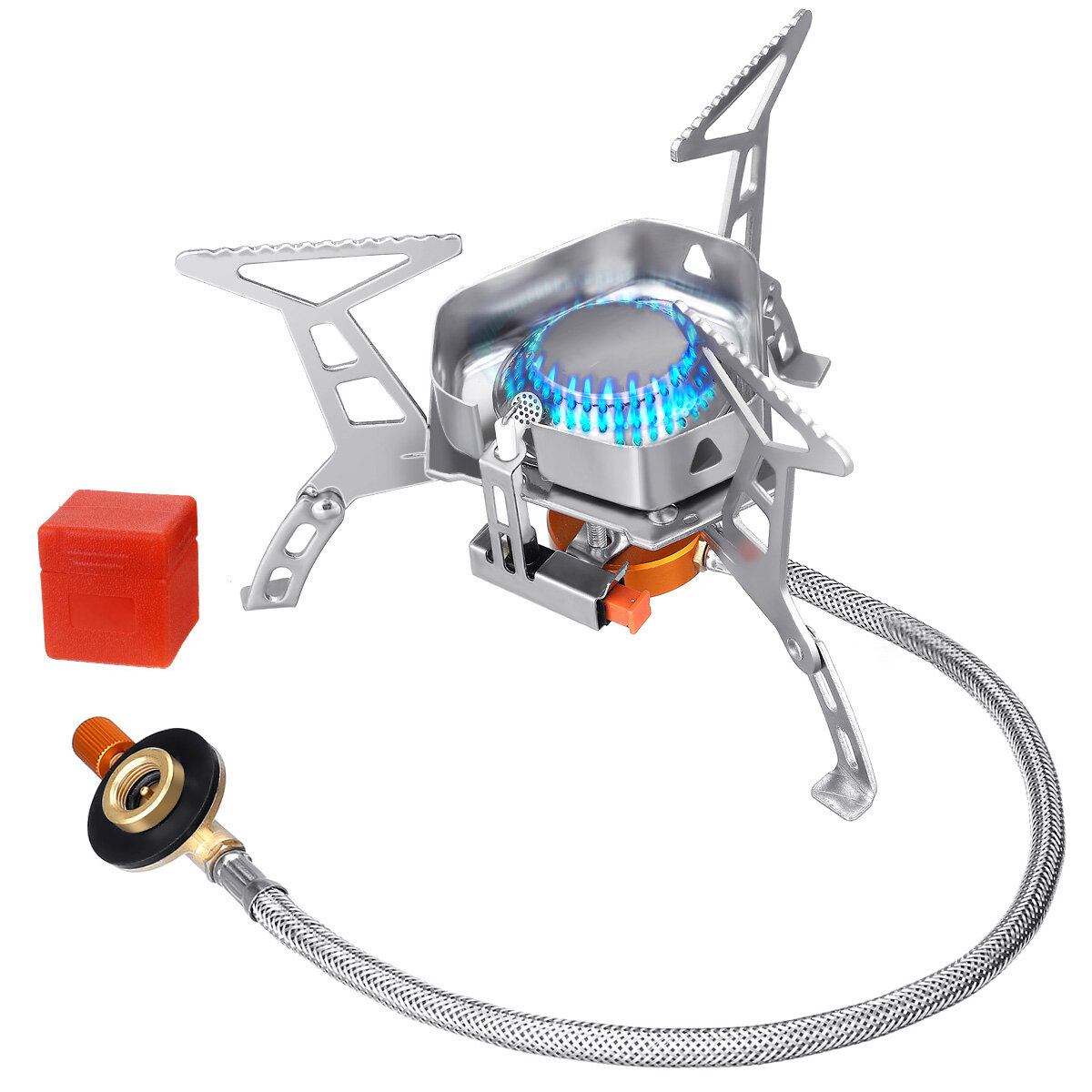 IPRee® 3500W Camping Stove Camping Cooker with Piezo Ignition Small Foldable Windproof Camping Gas Stove Compact Durable Gas Burner for Trekking Picnic Outdoor with Carrying Box