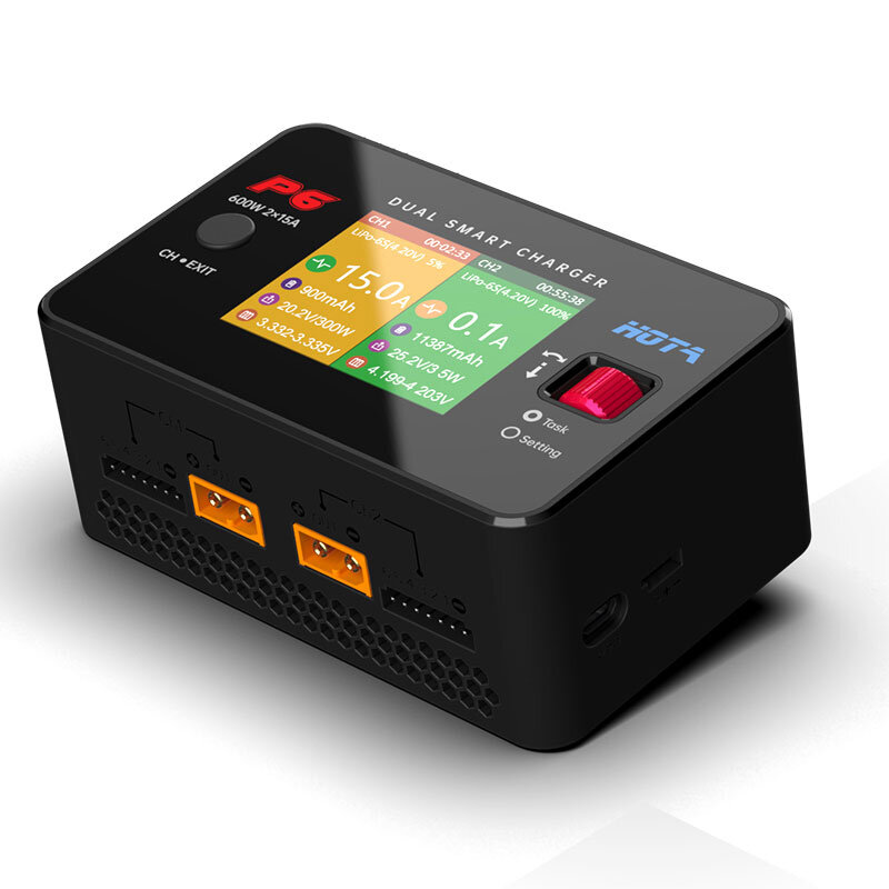 13% OFF for HOTA P6 DC 600W 15AX2 DC Dual Channel Smart Charger