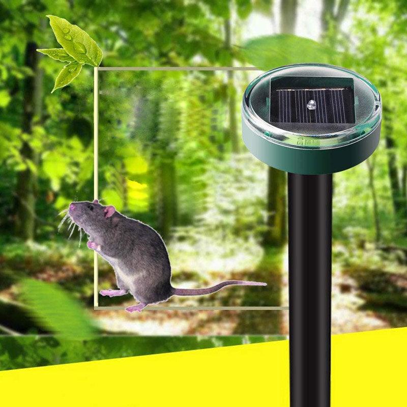 2pcs Solar Mole Repellent Ultrasonic Outdoor Powered Sonic Gopher Mole Snake Mouse Pest Anti Repeller