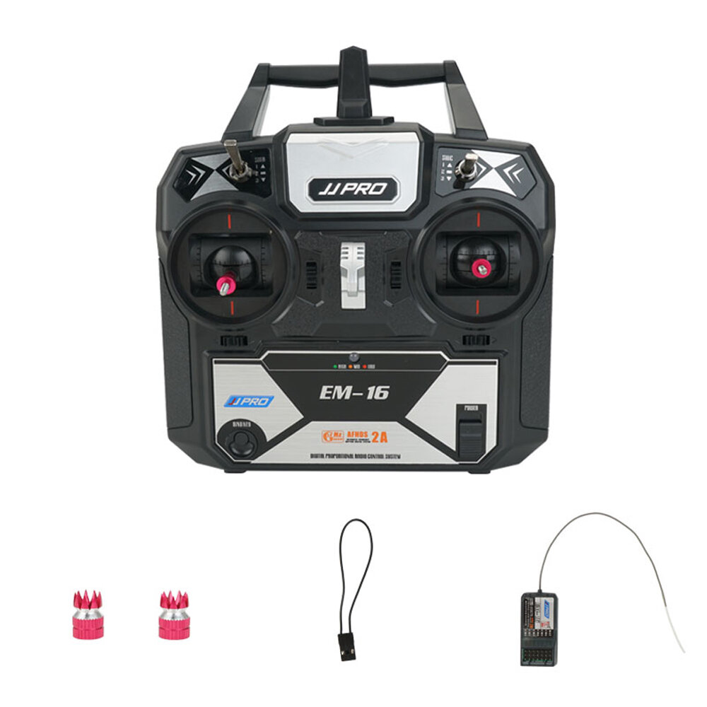 1JJRC JJPRO EM-16 2.4GHz 6CH AFHDS 2A Mode 2 RC Transmitter with Receiver Support P175 for RC Drone