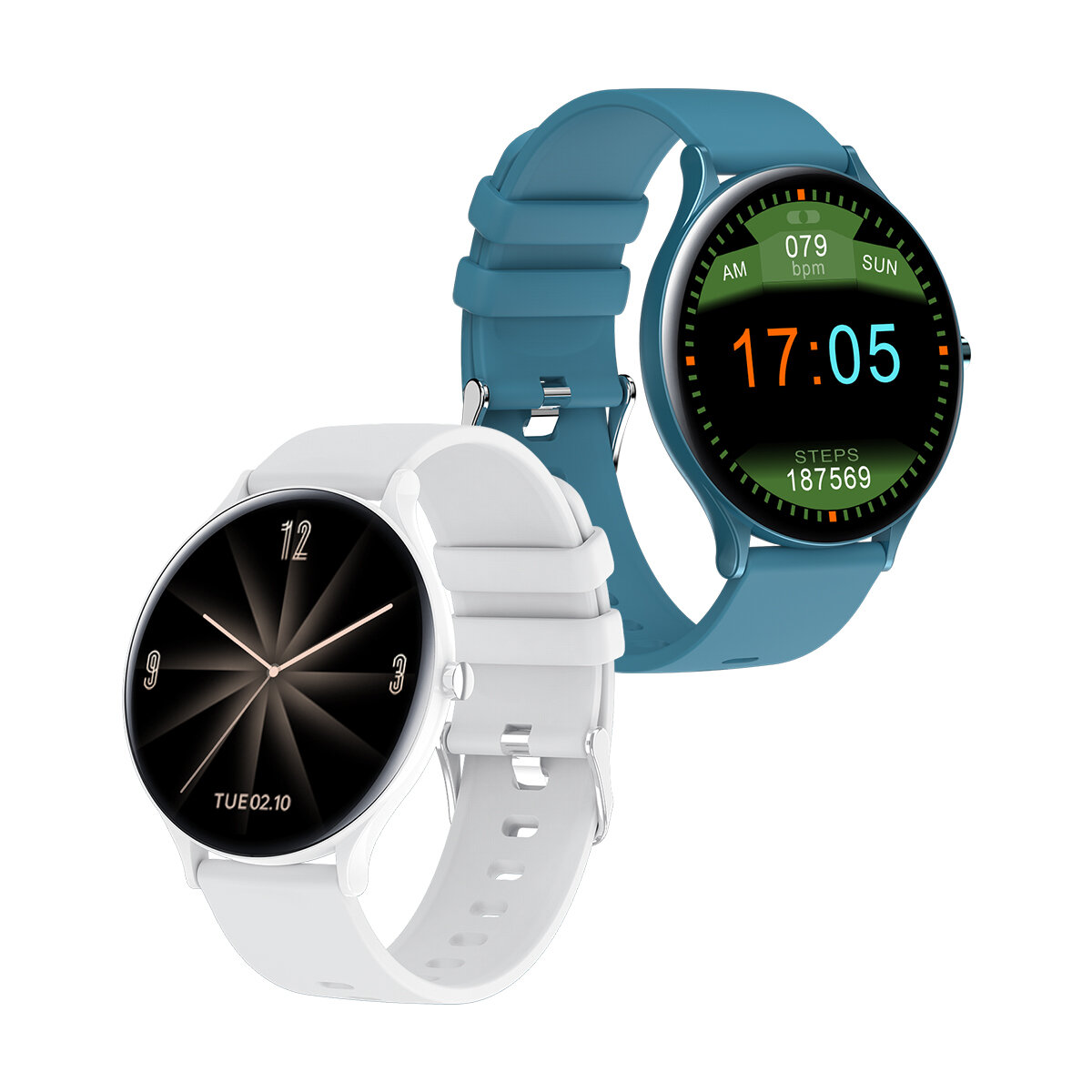 Bakeey QW13 Heart Rate Blood Pressure Oxygen Monitor Custom Dial Music Control Weather Display 1.28inch Full-touch Smart Watch
