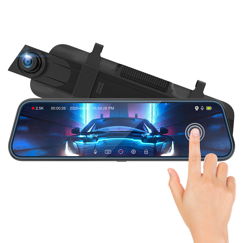 ThiEYE CarView3 Full HD1080P 2.5K DVR Camera 10Inch Touch Screen Video Recorder with Dual Lens Mirror Rearview Left Side Dash Camera