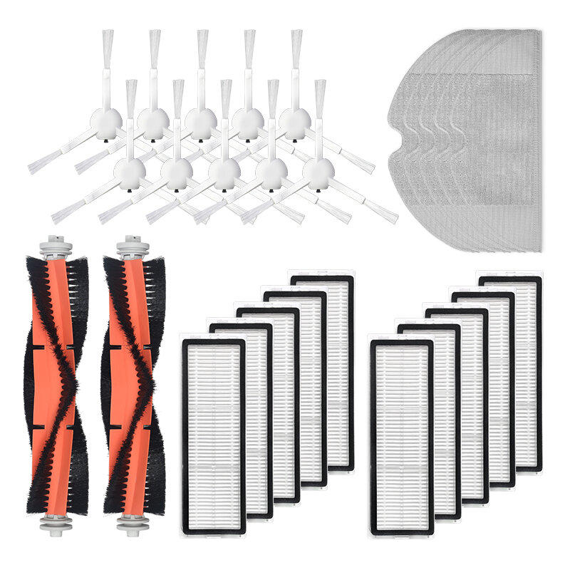 25pcs Replacements for Mijia 1C Dreame F9 D9 Vacuum Cleaner Parts Accessories Side Brushes*10 HEPA Filters*8 Main Brushes*2 Mop Clothes*5 [Not-original]