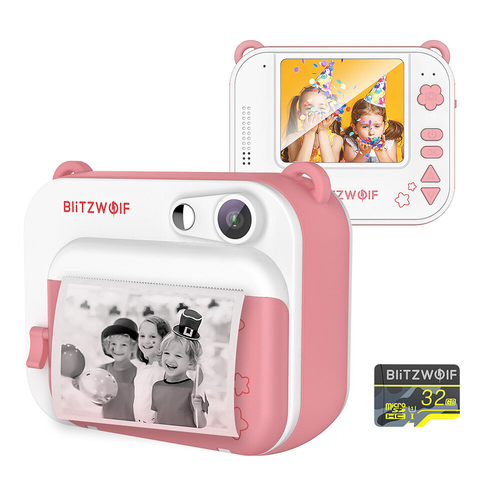 BlitzWolf® BW-DP1 FHD 1920*1080 Video 58mm Thermal Instant Camera Printer Birthday Gift for Kids with 32GB TF Card