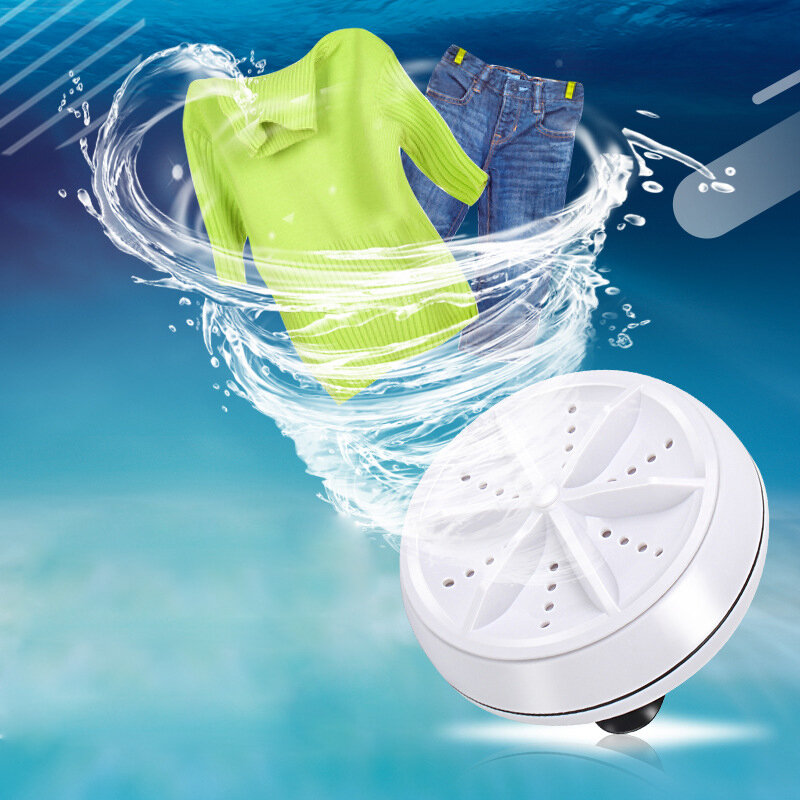 Portable Mini Turbine Clothes Washing Machine Compact Ultrasonic Washer USB Powered for Travel Home Camping Apartments Dorms RV Business