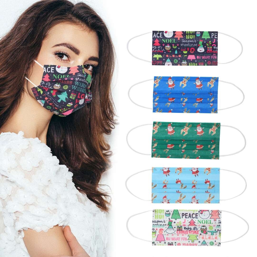 Adult Christmas 50Pcs Disposable Mouth Face Masks 3-layer Respirator Mask Christmas Dust-Proof Personal Protection