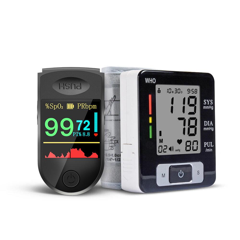 BOXYM 2 in 1 Finger Pulse Oximeter Blood Pressure Monitor Health Care Set for Elder Men Women Christmas Gift