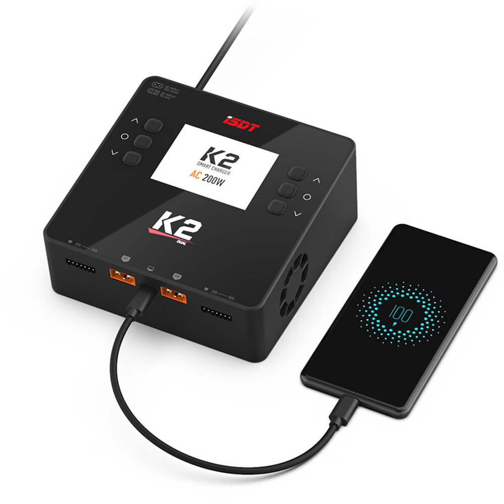 ISDT K2 AC 200W DC 500Wx2 20A Dual Channel Balance Lipo Charger Discharger for Lipo NiMh Pb Battery - EU Plug