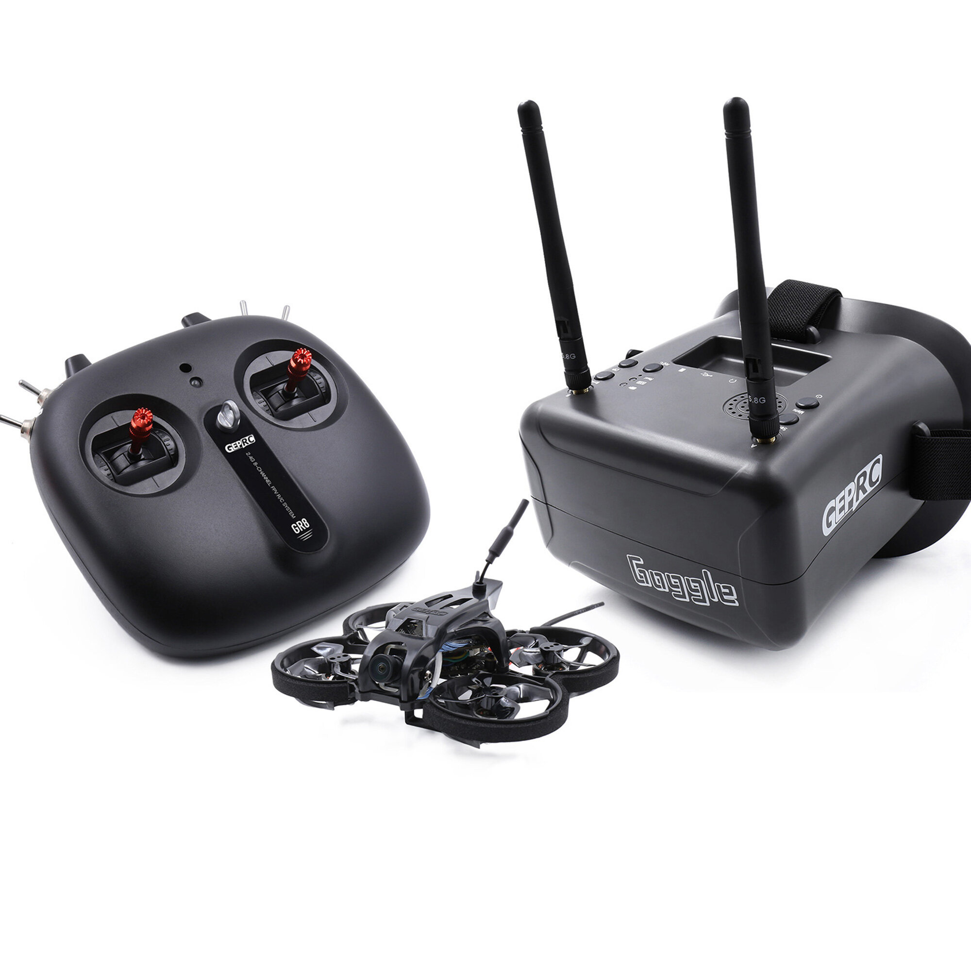GEPRC TinyGO 1.6inch 2S 4K Caddx Loris FPV Indoor Whoop+GR8 Remote Controller+RG1 Goggles RTF Ready To Fly FPV Racing RC Drone