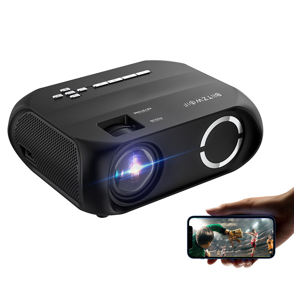 BlitzWolf®BW-VP11 LCD LED HD Projector 6000 Lumens Beamer 1280x720 Pixels Wireless Phone Same Screen 16.7 Million Colors 3500:1 Contrast Ratio Vertical Keystone Mini Portable Home Theater Outdoor Movie