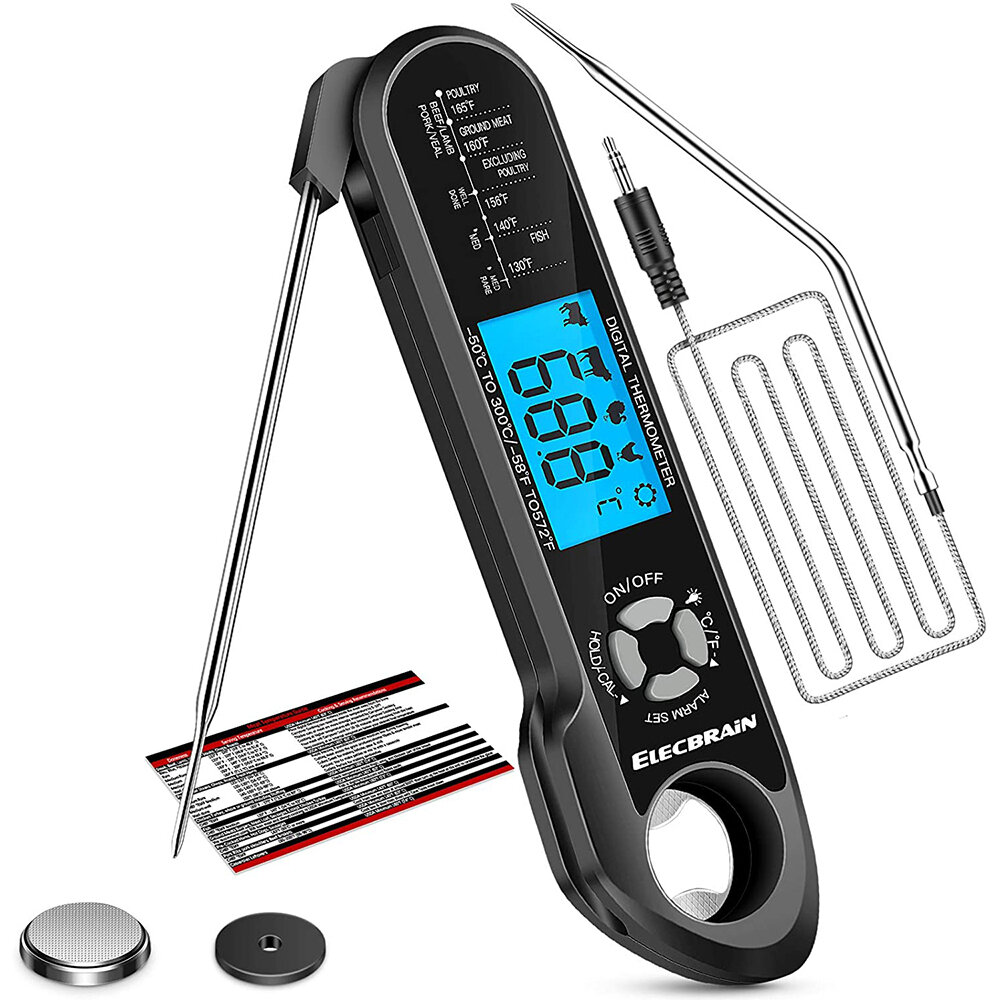 Meat Food Thermometer Instant Read Oven Safe 2 in 1 Dual Probe Digital Food Thermometer with Alarm Backlight for Kitchen Cooking Grilling Smoking BBQ