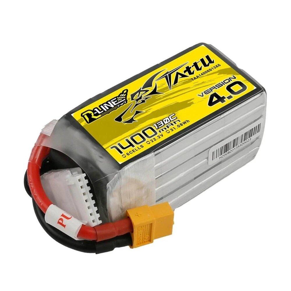 TATTU R-Line Version 4.0 V4 22.2V 1400mAh 130C 6S LiPo Battery XT60 Plug