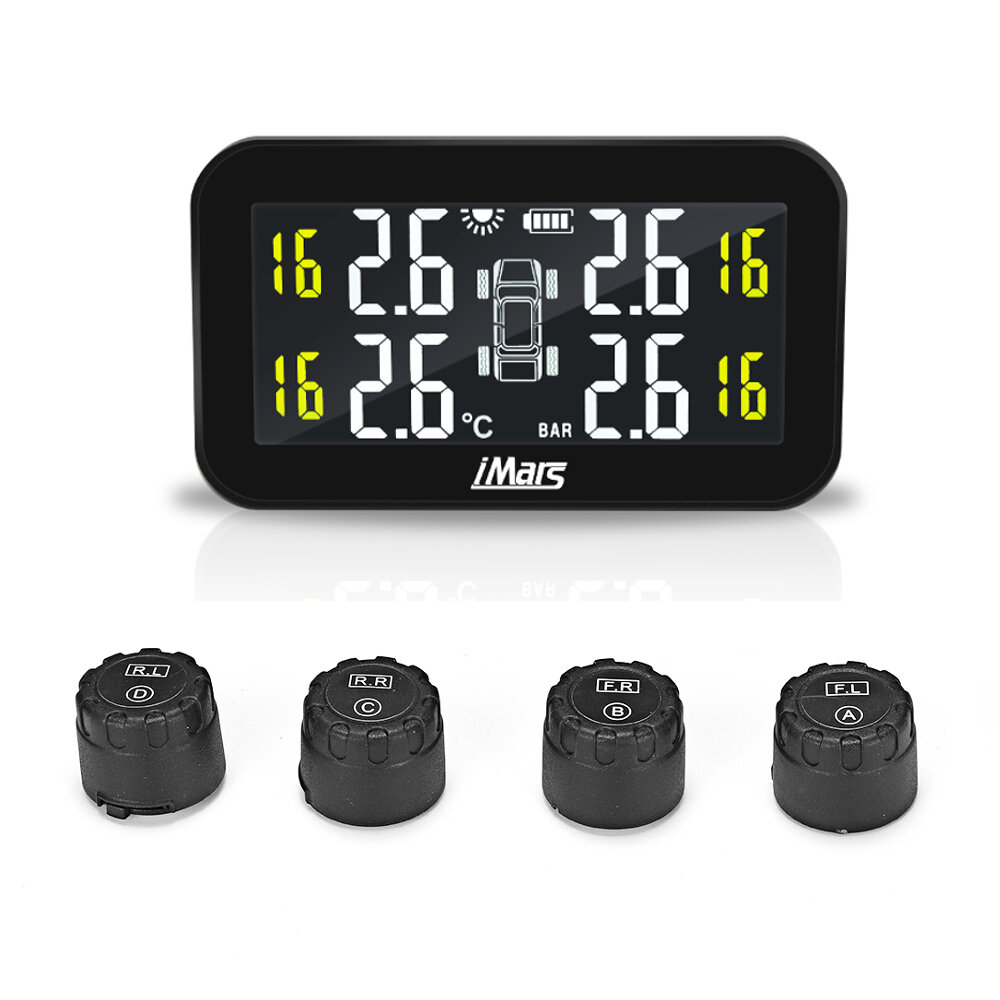 iMars T270 TPMS Solar Power Tire Pressure Monitor System Large Screen LCD Display Tester Wireless with 4 External Sensors Universal