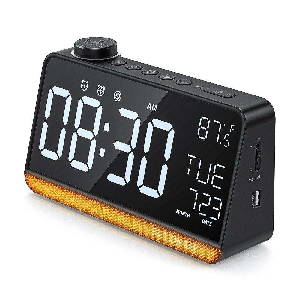 BlitzWolf BW-LAC1 Radio Digital Alarm Clock Night Light Large Display FM Radio Function Double Alarm Clock Temperature Display for Desk Decoration