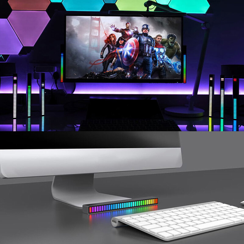 LED Light Interior Atmosphere Light RGB LED Strip Light With USB Wireless Remote Music Control with 8 Modes for Home Decoration