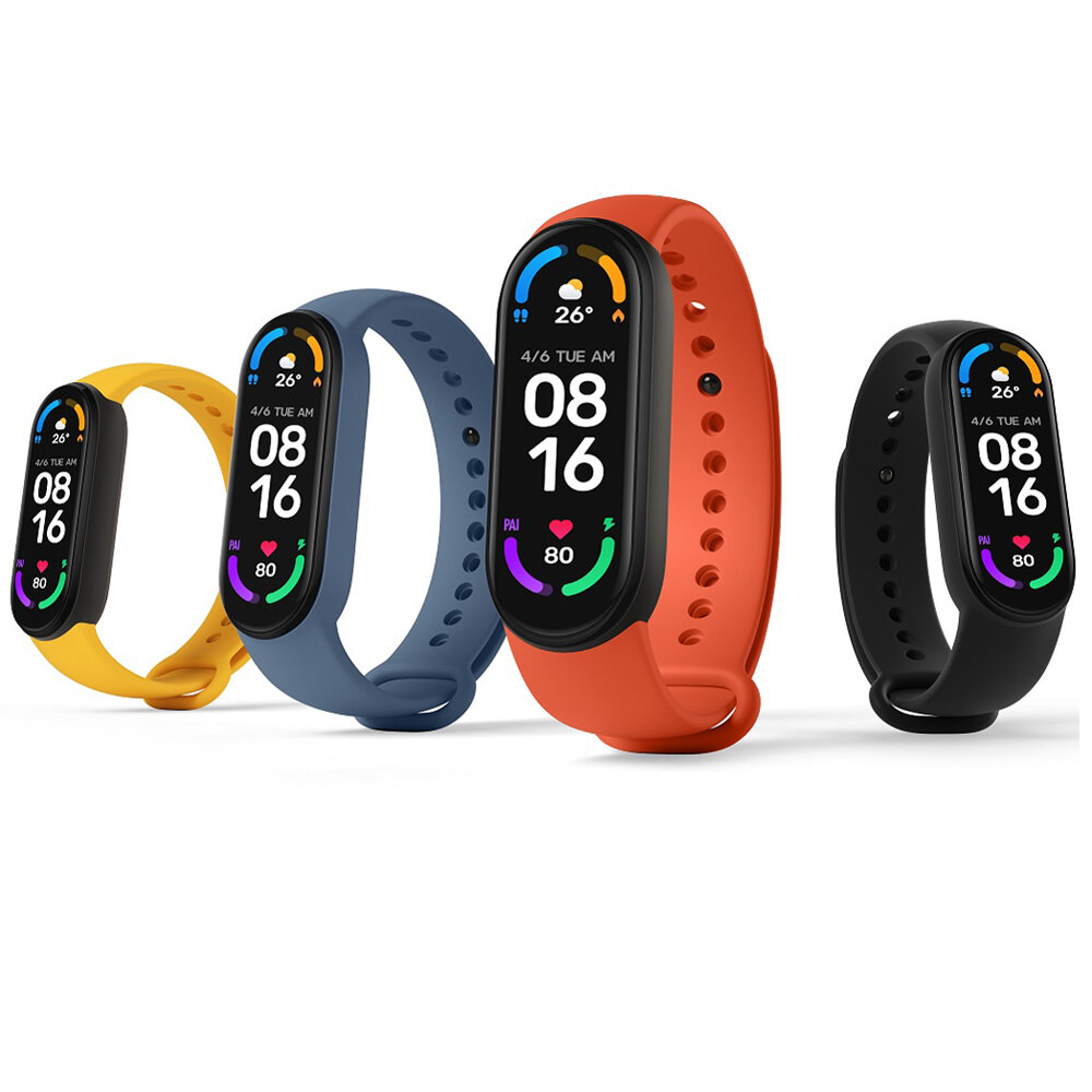 Xiaomi Mi Band 6 1.56 Inch 326 PPI AMOLED Retina Screen Wristband Heart Rate Blood Oxygen Monitor 130+ Watch Faces 30 Sports Modes 5ATM Waterproof BT5.0 Smart Watch Chinese Version