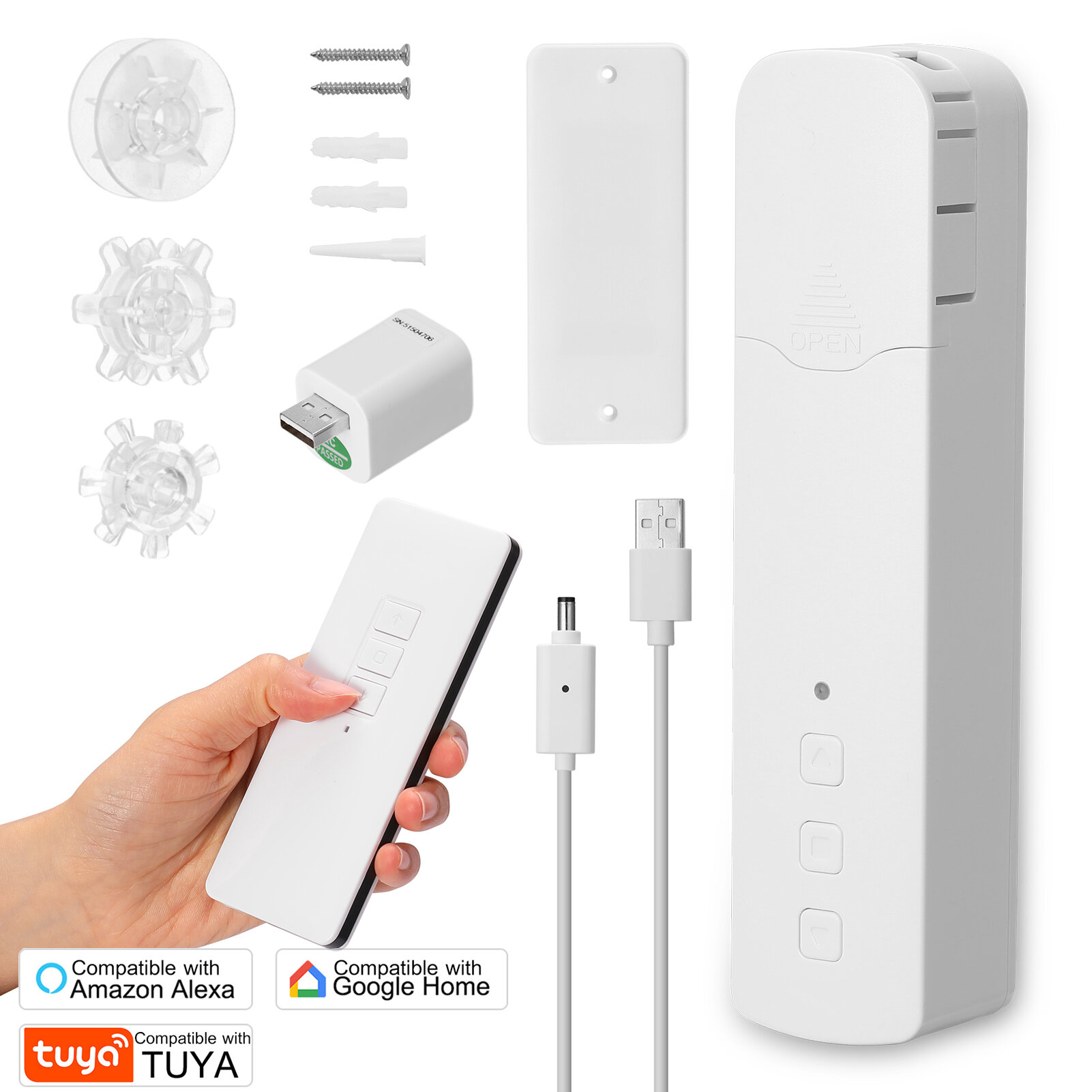 Tuya Wifi Smart Bead Curtain Motor Electric Roller Blind Manual Control Voice Control Work with Tuya Smart Life APP Support Google Home Alexa - with remote control Lithium battery rechargeable