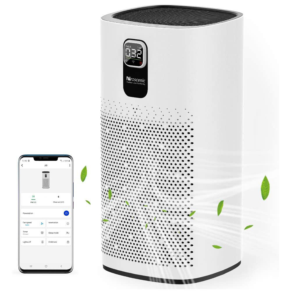 Proscenic A9 Air Purifier LED Display 460m³/h CADR 4 Gear Wind Speed Remove 99.97% Dust Smoke Pollen Alexa Google Home Voice Control Air Cleaner for Home Bedroom Office Large Room